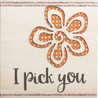 Pierced Wood 'I Pick You' Flower Sentiment Wall Art