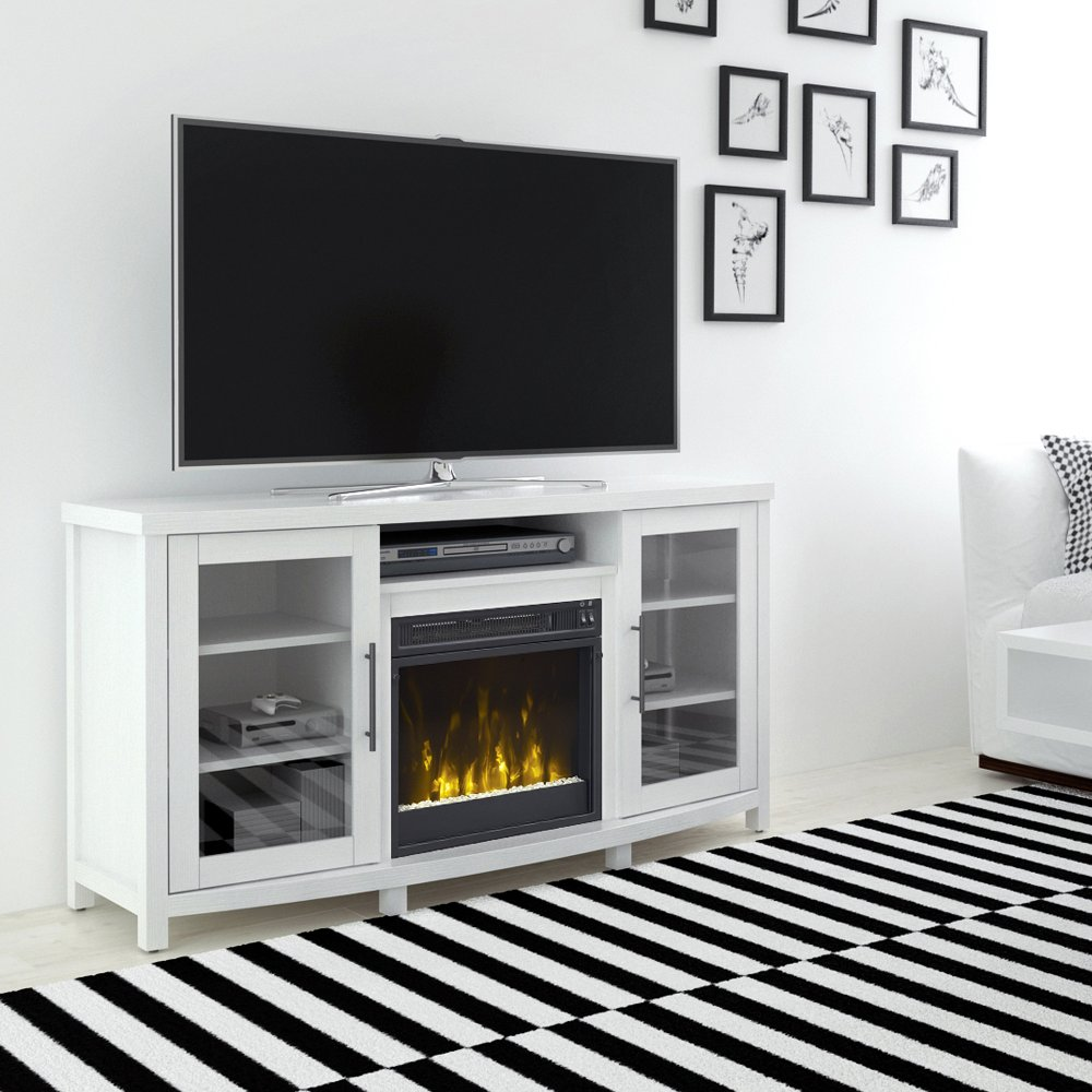 54 inch white tv stand with fireplace