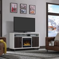Brown and White TV Stand with Fireplace (54 Inch) - Van Horne