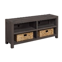 Umber Brown TV Stand with Baskets (60 Inch) - Westcott