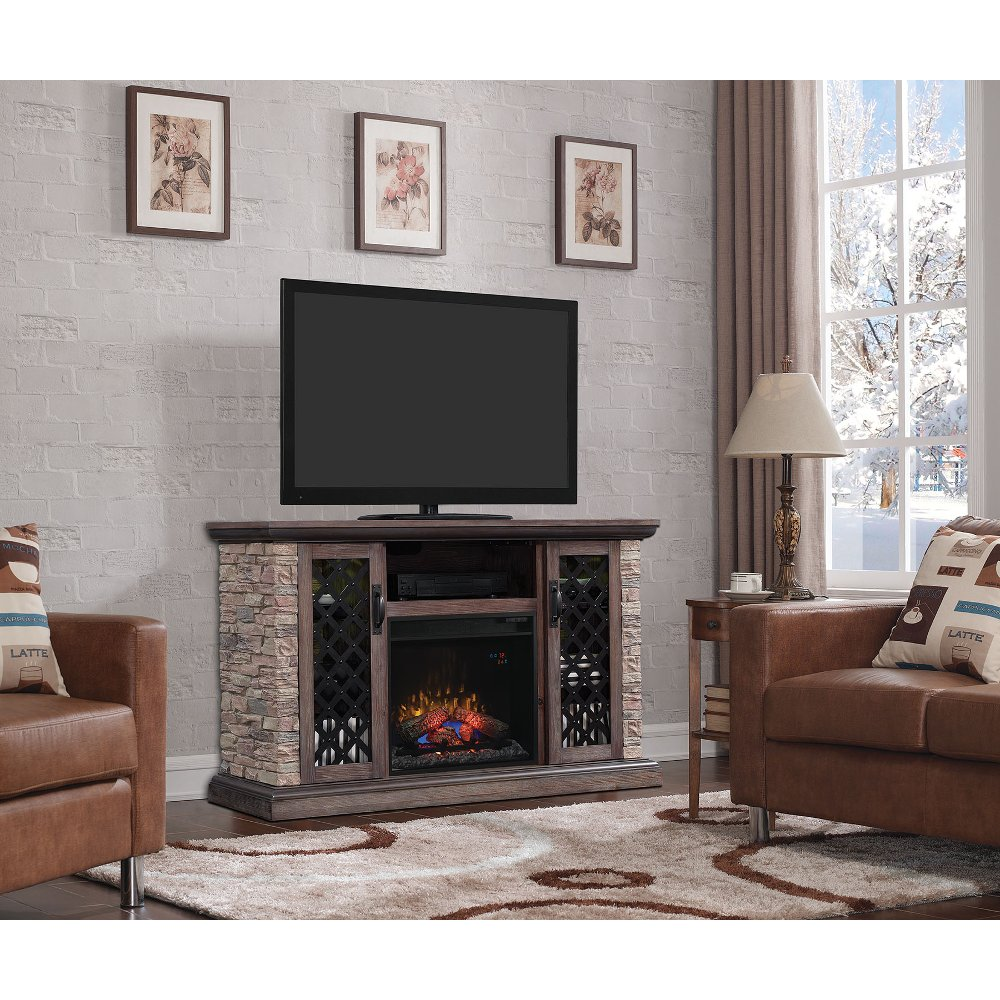 60 inch faux stone tv stand with fireplace