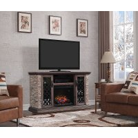 Faux Stone TV Stand with Fireplace (60 Inch) -  Captain