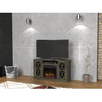 Modern Gray TV Stand with Fireplace (48 Inch) - Bayport