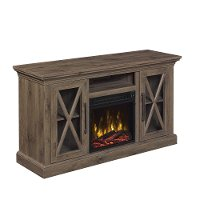 Spanish Gray TV Stand with Fireplace (54 Inch) - Cottage Grove