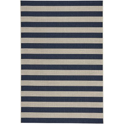 8 X 11 Large Striped Navy Indoor Outdoor Rug Finesse Rc Willey