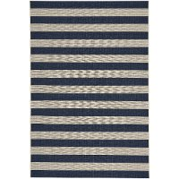 8 x 11 Large Striped Navy Indoor-Outdoor Rug - Finesse