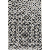 8 x 11 Large Navy Blue Indoor-Outdoor Rug - Finesse Tile