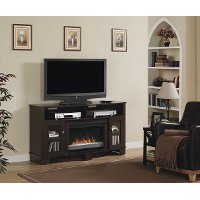 Espresso Brown TV Stand with Fireplace (59 Inch) - La Salle