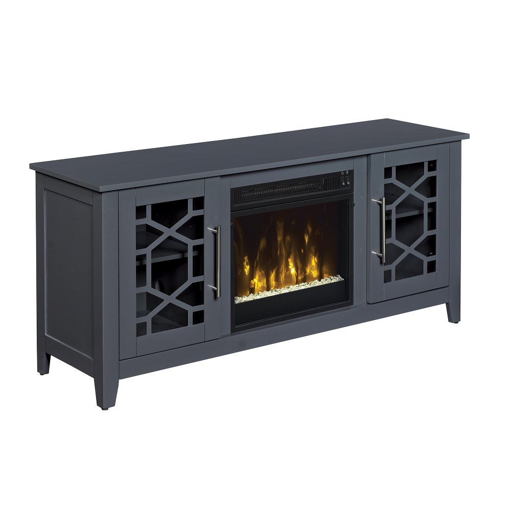 54 inch transitional cool gray tv stand with fireplace rc willey