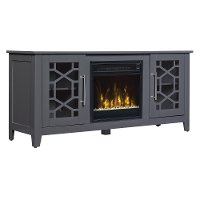 Transitional Cool Gray 54 Inch TV Stand with Fireplace - Clarion