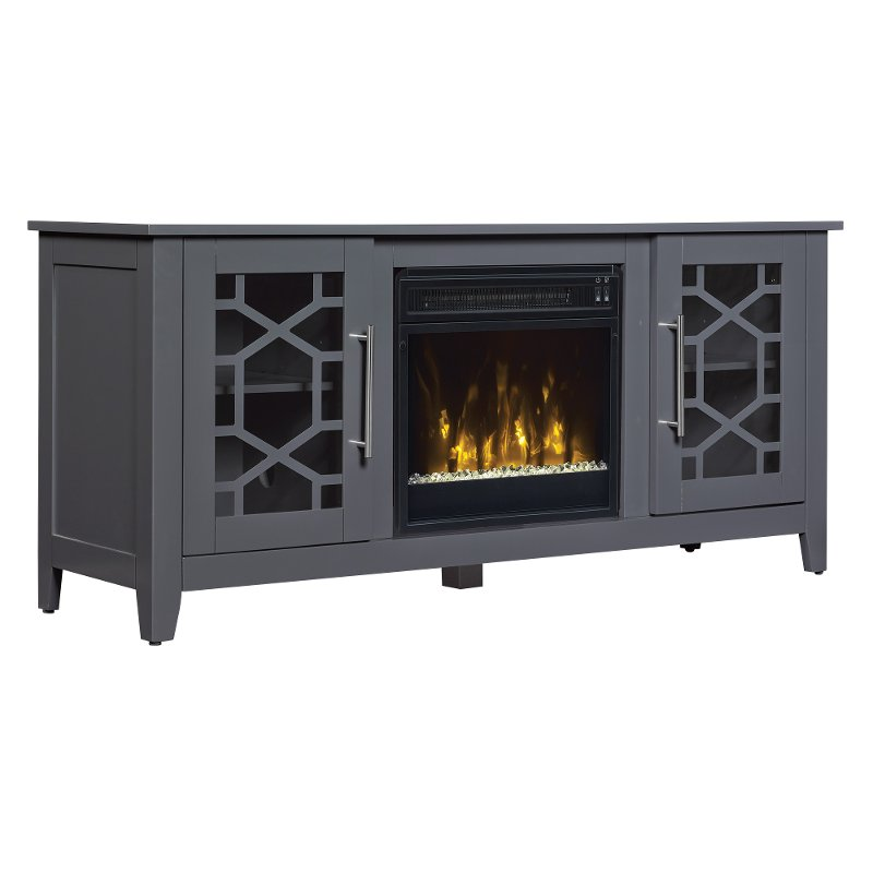 Transitional Cool Gray 54 Inch Tv Stand With Fireplace Clarion Rc Willey Furniture Store