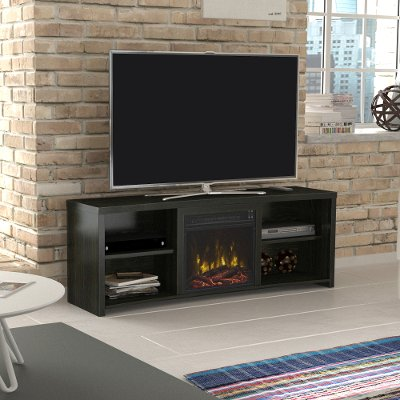 The open design of this stylish 60 inch black walnut TV stand with fireplace from RC Willey will give a modern edge to any room. The clean design gives this unit a sleek touch. The open shelves hold A/V components