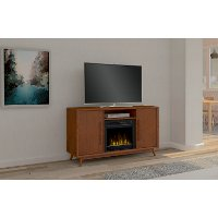 Mahogany TV Stand with Fireplace (54 Inch) - Leawood