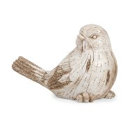 White Washed Carved Wooden Garden Bird