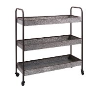Galvanized Metal 3-Tier Cart on Casters