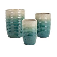 13 beige and green ombre garden pottery planter rc for Outdoor pottery las vegas nv