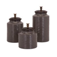 7 Inch Gray Ceramic Lidded Canister