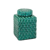 8 Inch Green Square Ceramic Lidded Container
