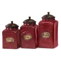 7 Inch Red Ceramic Lidded Canister