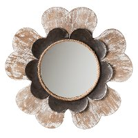 Flower-Shaped Framed Mirror with 2 Layers of Wooden Distressed Finishes