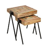 Recycled Teak Nested Side Tables - Set of 2