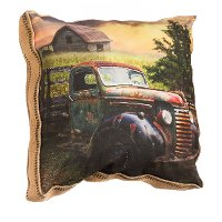 Printed Old Barn and Truck Throw Pillow