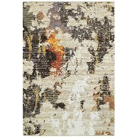 8 x 11 Large Beige and Charcoal Area Rug - Evolution