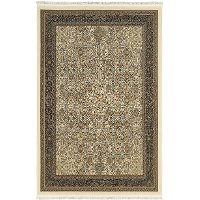 8 x 11 Large Ivory and Black Area Rug - Masterpiece
