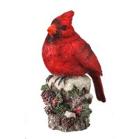 Cardinal on Stump with Pine Cones and Berries