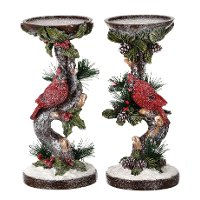 Assorted Resin Candle Holder with Cardinal on Branch with Holly