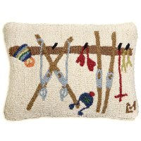 Hand Hooked Wool Ski Rack Throw Pillow