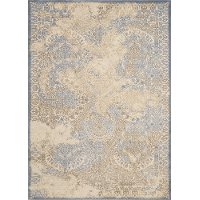5 x 7 Medium Neutral Beige and Soft Blue Rug - Dais
