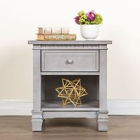 Storm Grey 1-Drawer Nightstand - Santa Fe