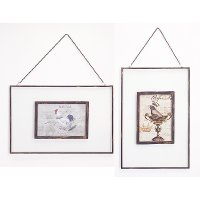 Assorted Metal and Glass Hanging Picture Frame with Chain