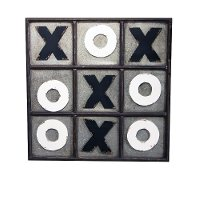 Distressed Metallic Tic Tac Toe Wall Decor
