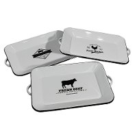 White and Black Enamelware Cow Tray with Handles