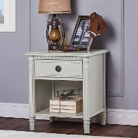 French Linen 1-Drawer Nightstand - Julienne