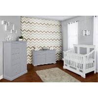 White/ Dove Grey 5 in-1 Convertible Crib - Parker