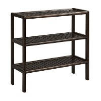 Espresso Birch Wood 3 Shelf Large Console - Abingdon
