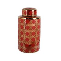 18 Inch Red and Gold Ceramic Lidded Jar