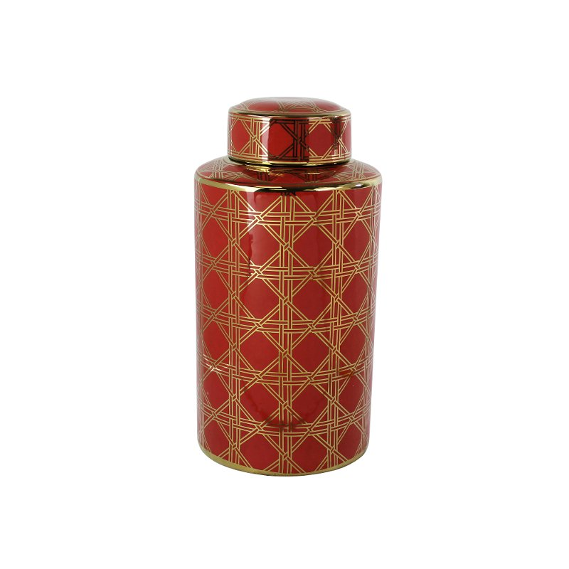16 inch red and gold ceramic lidded jar rcwilley image1~800
