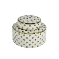 White Ceramic Lidded Jar with Gold Polka Dots