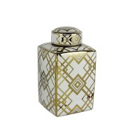 15 Inch White Square Lidded Jar with Gold Detailing