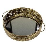 Metal Filigree Mirrored Tray with Handles
