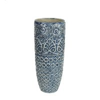 15 Inch Blue and Ivory Ceramic Vase