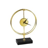 Gold and Black Metal Table Clock on Stand