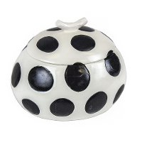 White Ceramic Box Covered in Black Polka Dots