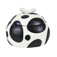 White Ceramic Lidded Box with Black Spotted Polka Dots