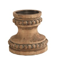 Magnolia Home Furniture Wood Beaded Pillar Candle Holder