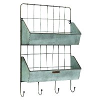 Magnolia Home Furniture Black Metal Wall Rack with 2 Shelves and 4 Hooks